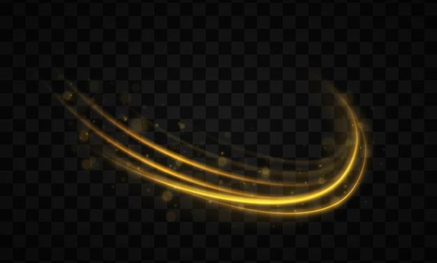 Złota linia z efektem świetlnym. dynamiczne złote fale z małymi częściami na przezroczystym tle. żółty pył. efekt bokeh. pył żółtych iskier, gwiazdy świecą specjalnym światłem. ilustracja.
