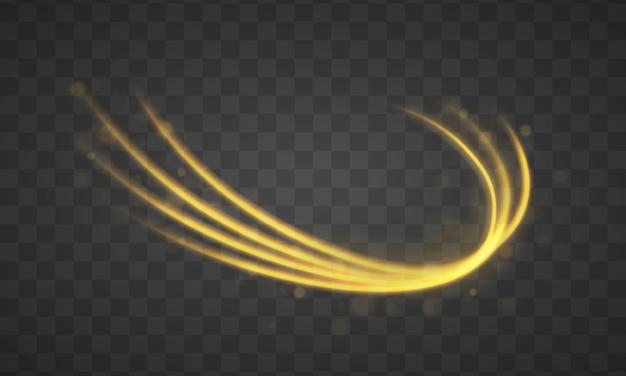 Złota linia z efektem świetlnym. dynamiczne złote fale z małymi częściami na przezroczystym tle. żółty pył. efekt bokeh. pył żółtych iskier, gwiazdy świecą specjalnym światłem.