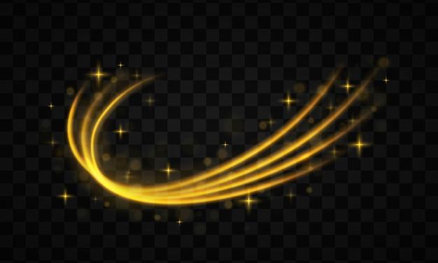 Złota linia z efektem świetlnym. dynamiczne złote fale z małymi częściami na przezroczystym tle. żółty pył. efekt bokeh. pył żółtych iskier i gwiazd lśni specjalnym światłem.