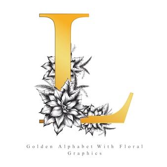 Złota litera alfabetu l