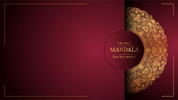 Złota mandala z czerwonym tłem
