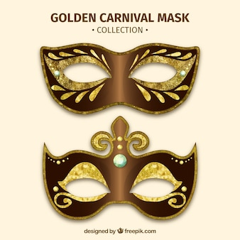 Złota maska karnawałowa kolekcja