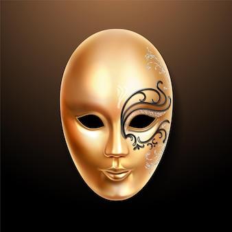 Złota maska z bogato zdobioną koronką
