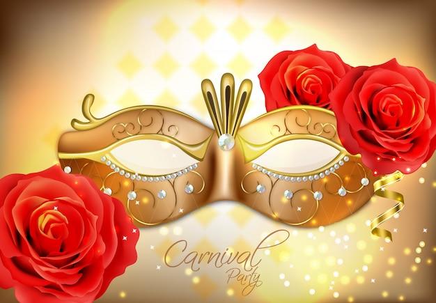 Złota maska z brylantami