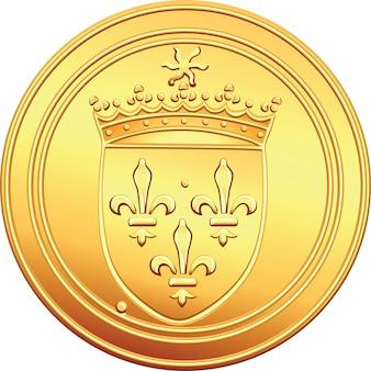 Złota moneta awers francuski ecu