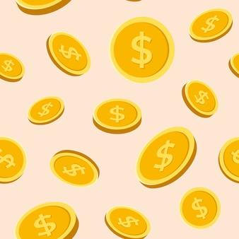 Złota moneta bezszwowe tło wzór, pieniądze wektor ilustracja finansów