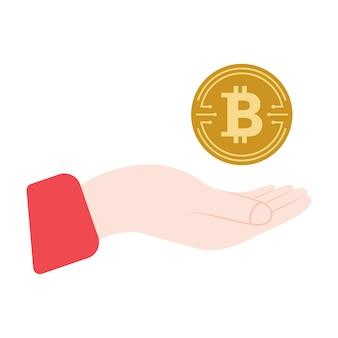 Złota moneta bitcoin. symbol bitcoin monety kryptowaluty. logo kryptowaluty. szablon marketingu cyfrowego mody. ręka z cyfrowymi pieniędzmi. ikona koloru. ilustracja wektorowa na białym tle