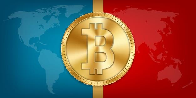 Złota moneta bitcoin, waluta, kryptowaluta.