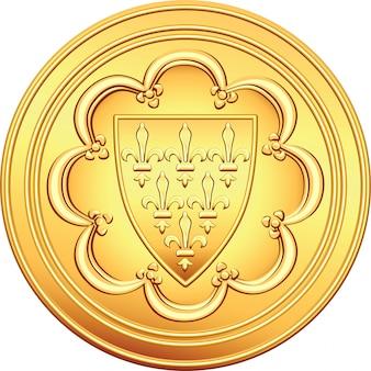 Złota moneta francuska pieniądze ecu