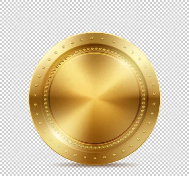 Złota moneta na przezroczystym tle