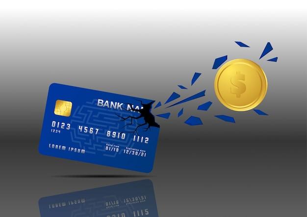 Złota moneta penetrate from credit card