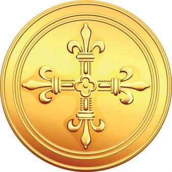 Złota moneta rewers francuski ecu