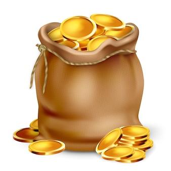 Złota moneta w torebce torba vintage tkaniny