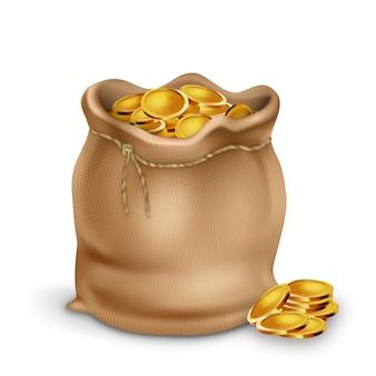Złota moneta w torebce vintage tekstylne torby