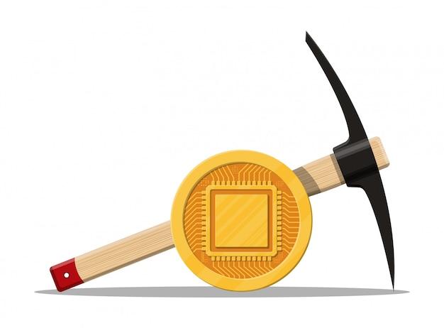 Złota moneta z chipem komputerowym.
