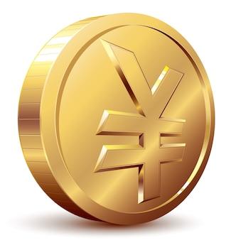 Złota moneta z symbolem jena