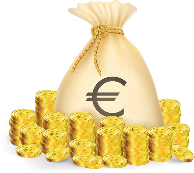 Złota moneta z torbą pieniędzy