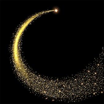 Złota musująca gwiazda ze śladem gwiezdnego pyłu