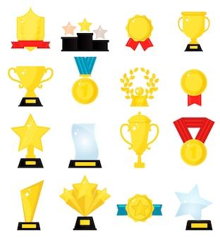 Złota nagroda medal zwycięzca piękne złote trofeum filiżanki.
