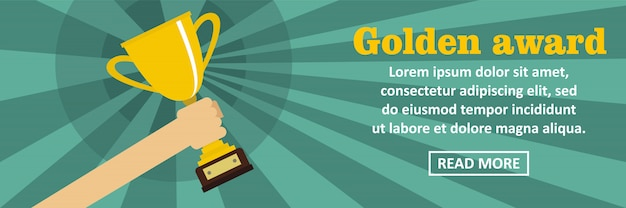 Złota nagroda transparent szablon poziome koncepcji