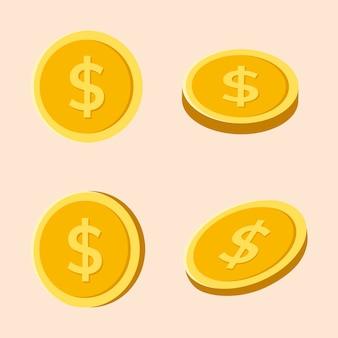 Złota naklejka na monety, pieniądze wektor finanse clipart w płaskiej konstrukcji