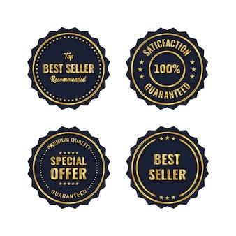 Złota odznaka i szablon produktu z etykietą premium
