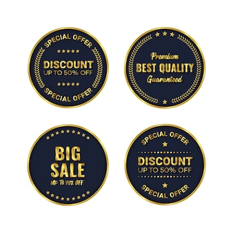 Złota odznaka i wektor szablonu produktu etykiety premium