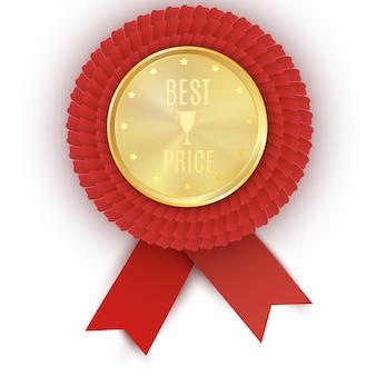 Złota odznaka najlepszej ceny z czerwoną wstążką