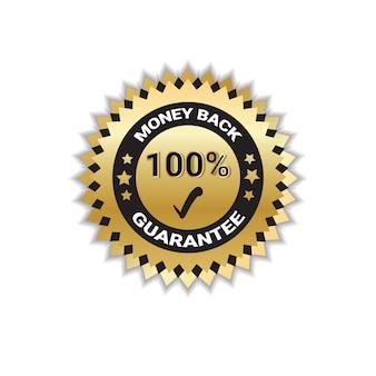 Złota odznaka pieniądze z powrotem z gwarancją 100 procent na białym tle