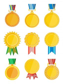 Złota odznaka zwycięzcy ze wstążką na białym tle zestaw