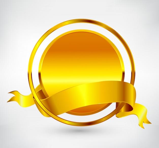 Złota okrągła etykieta