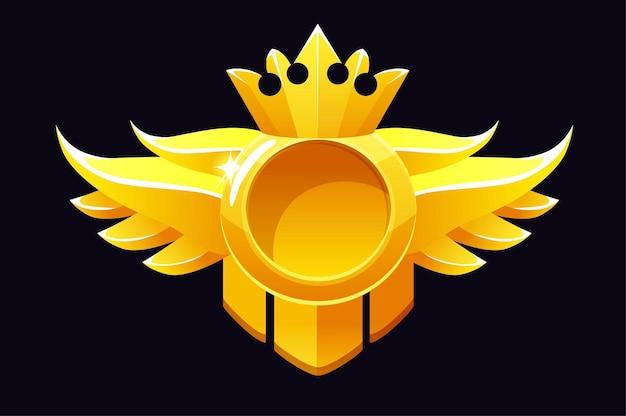 Złota okrągła nagroda, szablon ramki korony do gier ui