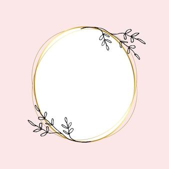 Złota okrągła rama wektor z prostym rysunkiem kwiatowym