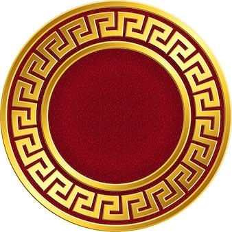 Złota okrągła rama z greckim wzorem meander