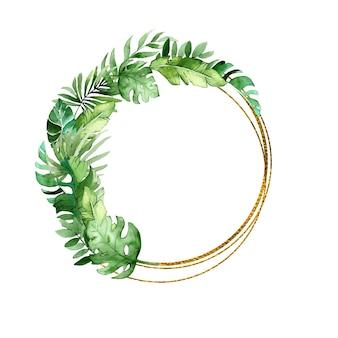 Złota okrągła rama z tropikalnymi liśćmi