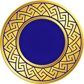 Złota okrągła ramka z tradycyjnym greckim meandrem w stylu vintage