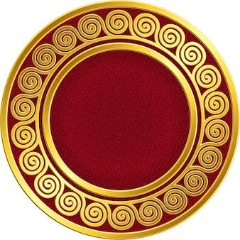 Złota okrągła ramka z tradycyjnym wzorem greckiego meandra
