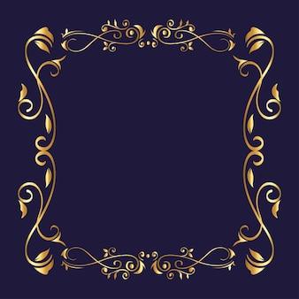 Złota ozdoba ramki na niebieskim tle motywu elementu dekoracyjnego