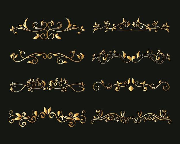 Złota ozdoba ustawiona na zielonym tle motywu elementu dekoracyjnego
