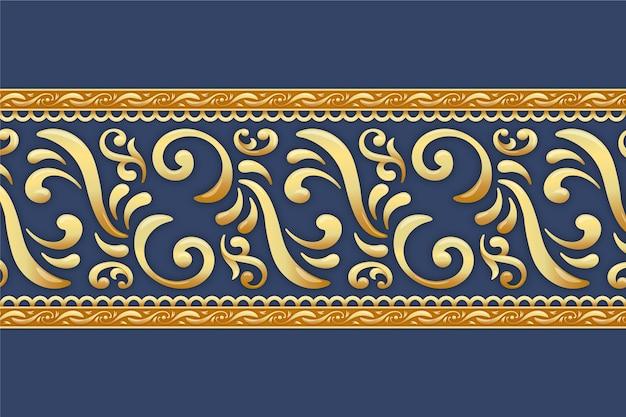 Złota ozdobna granica z niebieskim tłem