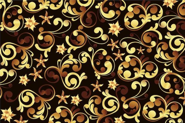 Złota ozdobna kwiecista tapeta