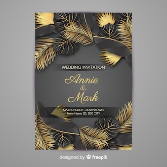 Złota palma opuszcza ślubnego zaproszenie
