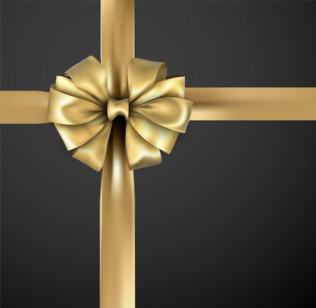 Złota piękna realistyczna kokardka z satynową tasiemką do pakowania prezentów.