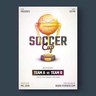 Złota piłka nożna, ulotki mistrzostw piłki nożnej lub projekt plakatu.