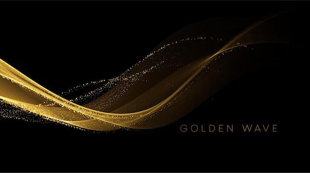 Złota płynąca fala z cekinami mieni się czarnym pyłem.