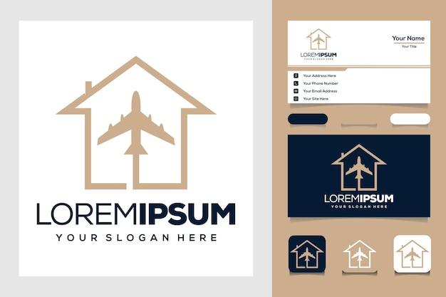 Złota podróż z projektem logo samolotu i domu oraz wizytówką