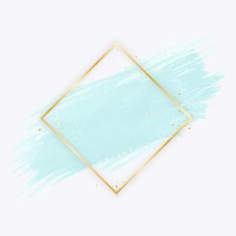 Złota prosta ramka z akwarelą