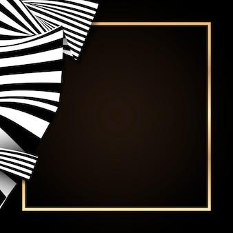 Złota prostokątna ramka na abstrakcyjnym tle