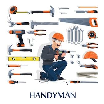 Złota rączka z narzędziami pracy kreskówka branży budowlanej, naprawy i renowacji domu. postać budowniczego ze śrubokrętami, młotkami i wiertarką, hełmem, szczypcami, kluczem lub kluczem