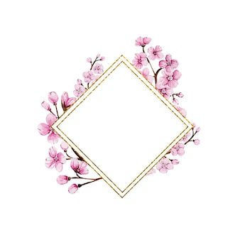 Złota rama akwarela z kwiatami sakury